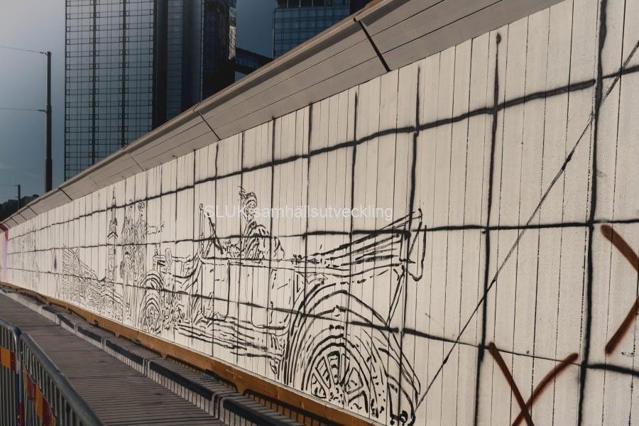 Planket är konstnärligt utsmyckat utmed gång- och cykelvägen som är klar för trafik.