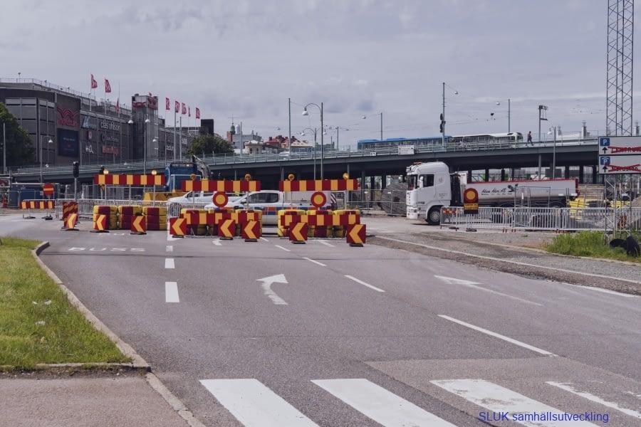 Byggnationen av västlänken påverkar all trafik i staden. Den blå bron är Götaölvsborgsbron som kommer att ersättas av Hisingsbron