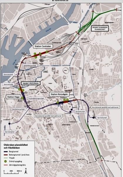 Karta från Järnvägsutredningen, Västlänken. Västlänken passerar genom 2km tunnel i Göteborg.