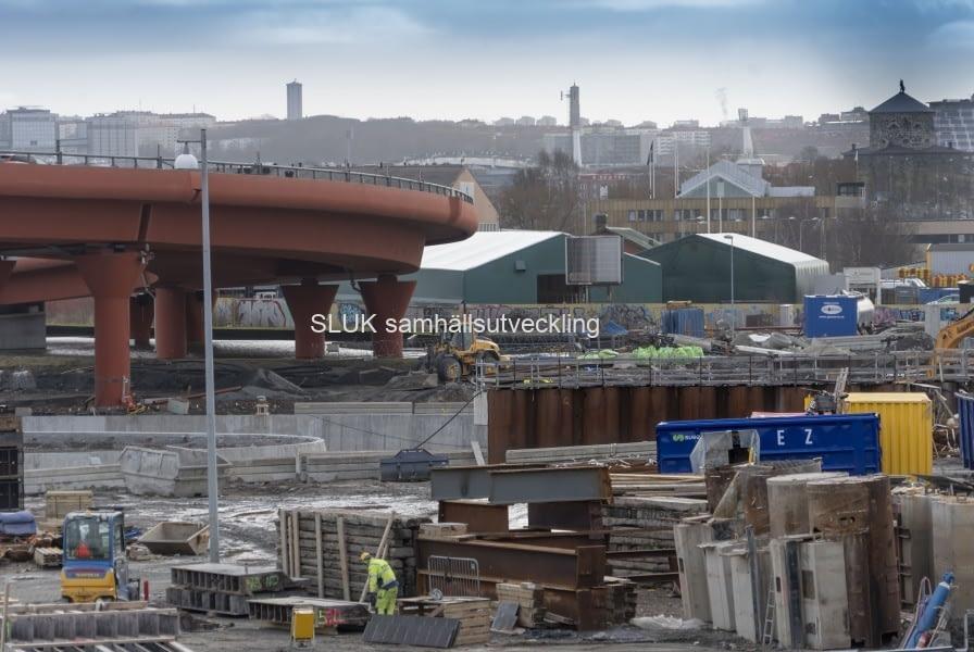 Bilden visar pågående arbeten vid Marieholm.