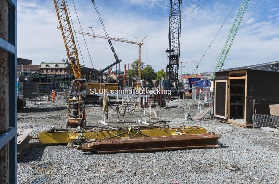 Närbild på byggnationen i området.
