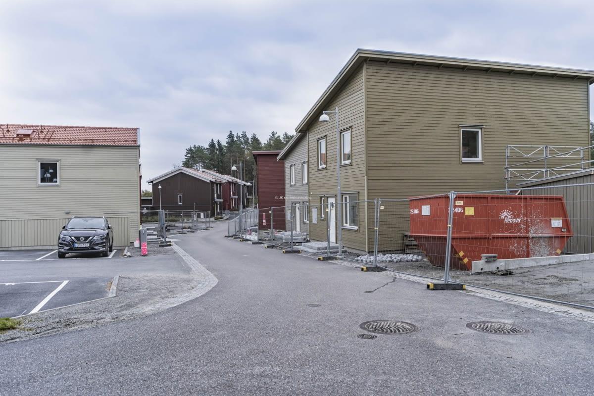 Veidekkes byggområde, husens framsida.