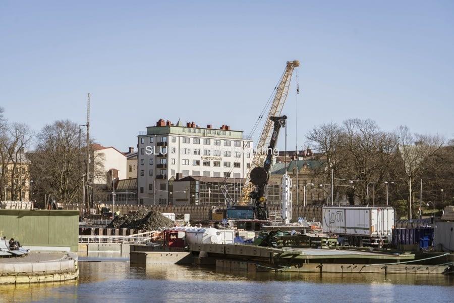 Här ser man kanalen som är avstängd i riktning mot Södra Allèn.
