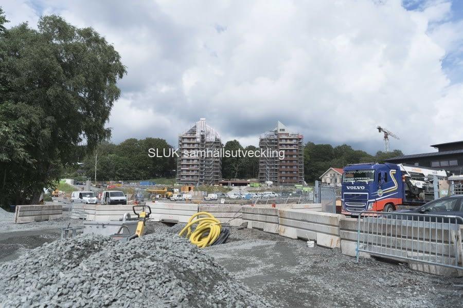 Bostadsbygge vid Mölnlycke fabriker pågår